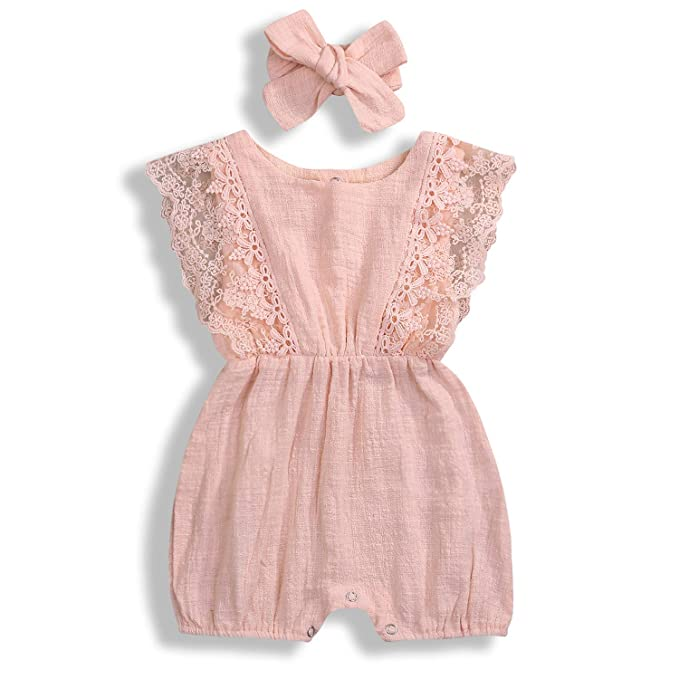 da2d85d83e8c7 KCSLLCA Baby Girls Lace Romper Set Ruffle Sleeve Solid Color Onesie with  Headband (A Peach