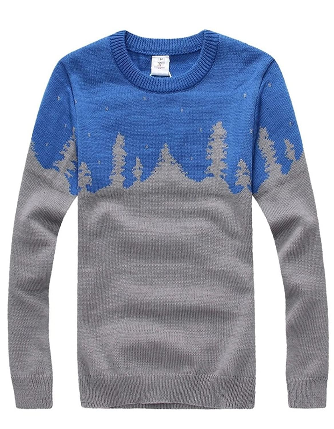 Keral Casual Two Colors Knit Tree Pattern Loose Pullover Sweater M LakeBlueG
