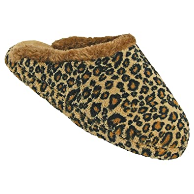 Dawgs Women's Foam Slide Scuffs Slippers Leopard Size ...