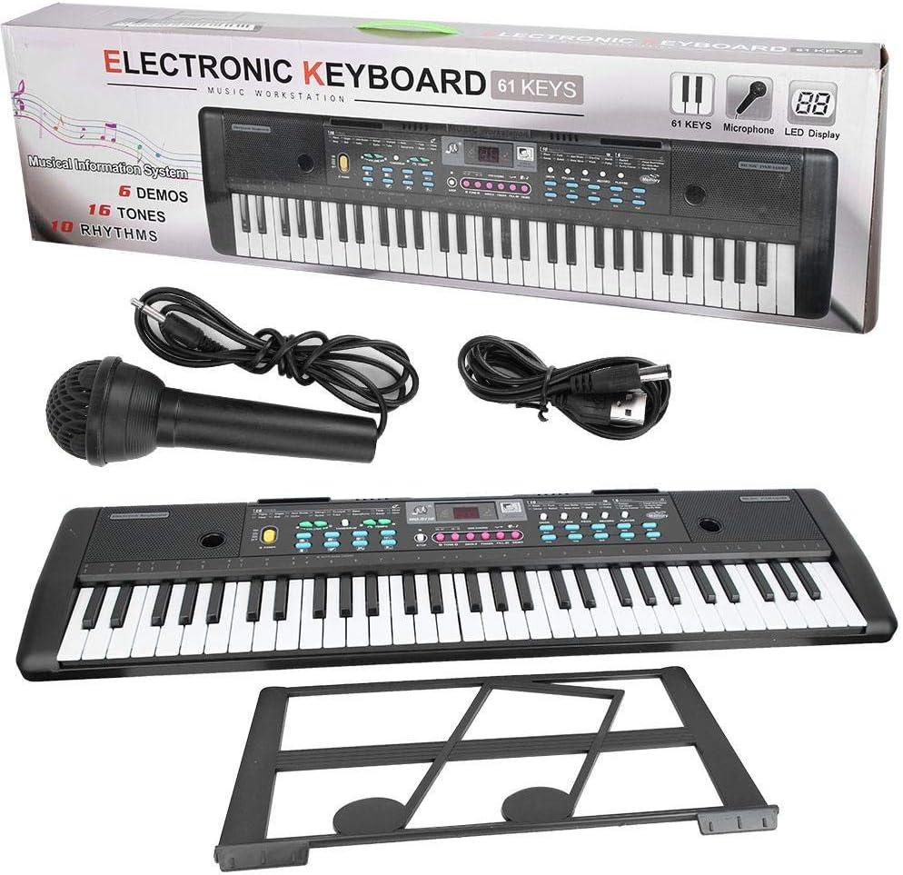 61 Keys Electronic Organ Portable Digital Music Keyboard with Microphone Kids Toy TOPINCN
