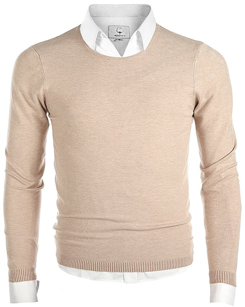 fa1bd90b3339 MOCOTONO Men's Long Sleeve Crew Neck Pullover Knit Sweater: Amazon.ca:  Clothing & Accessories