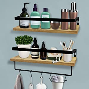 Mageshi Floating Shelves Wall Mounted Set of 2, Solid Pine Wood Floating Wall Shelves with Rails & Removable Towel Holder, Rustic Storage Shelves for Kitchen Bathroom Bedroom Living Room
