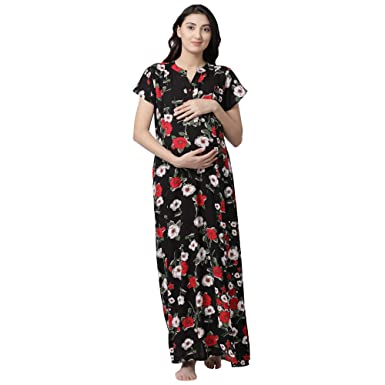 4f9c6a8dba9 GOLDSTROMS Minelli Woman Rayon Fabric Maternity/Nursing/Feeding Long Gown  Black