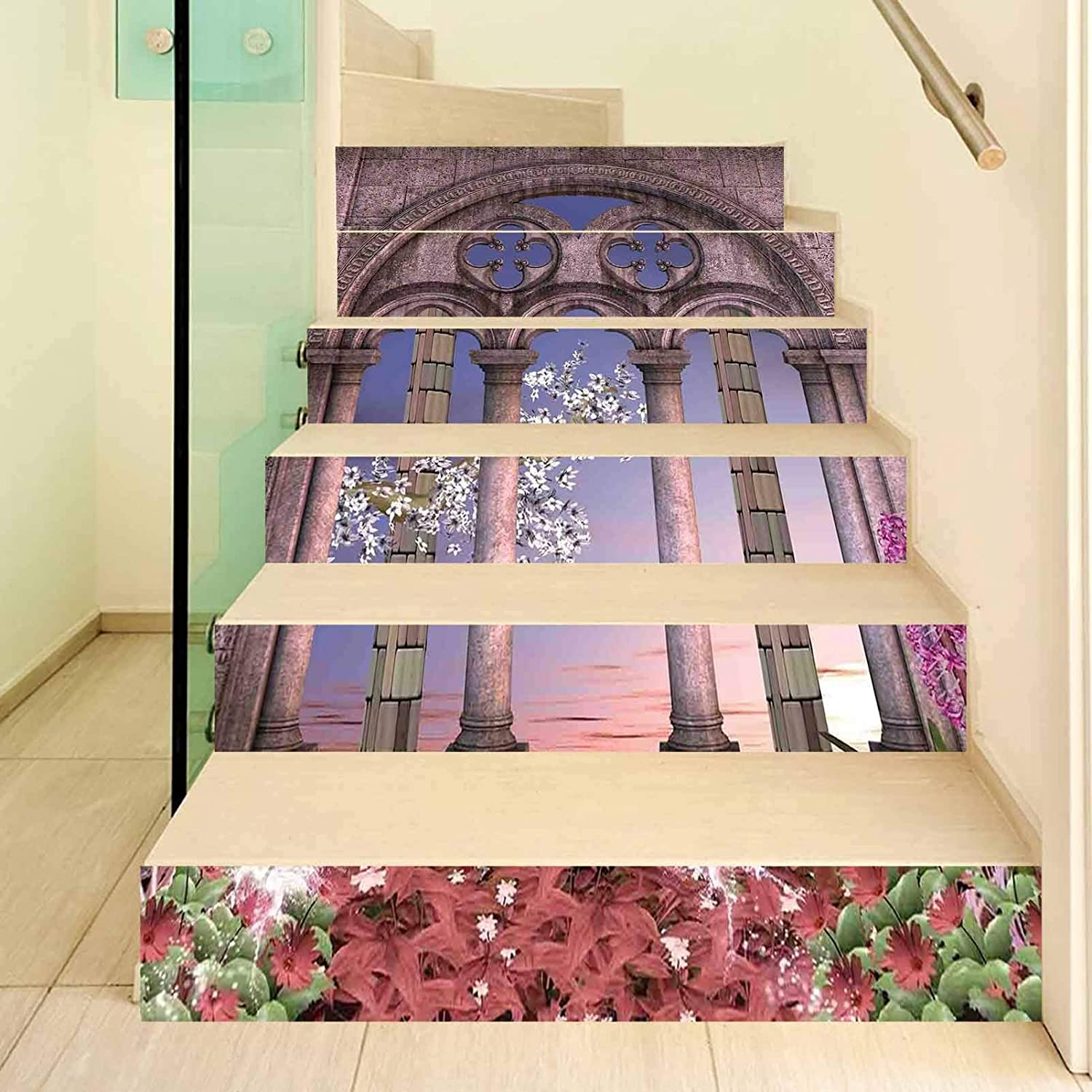 Gothic 3D Stair Stickers Decals-6Pcs/Set,Ancient Colonnade in Secret Garden with Flowers at Sunset Enchanted Forest Stair Risers Stickers Removable Staircase Decals Mural Wallpaper for Home Decor