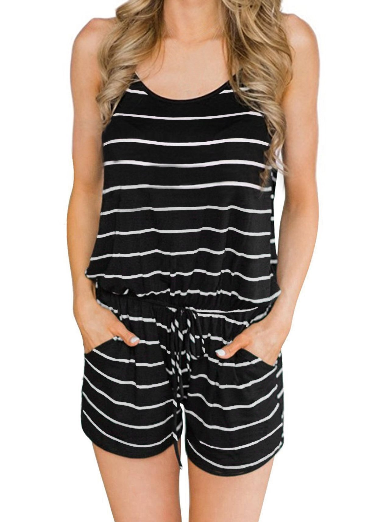Saifeier Rompers for Women Boat Neck Mid Rise Jumpsuit with Belt(Black,XL)