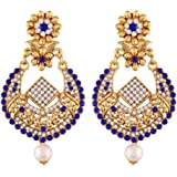 I Jewels Gold Plated Traditional Earrings For Women E2342Bl (Blue)