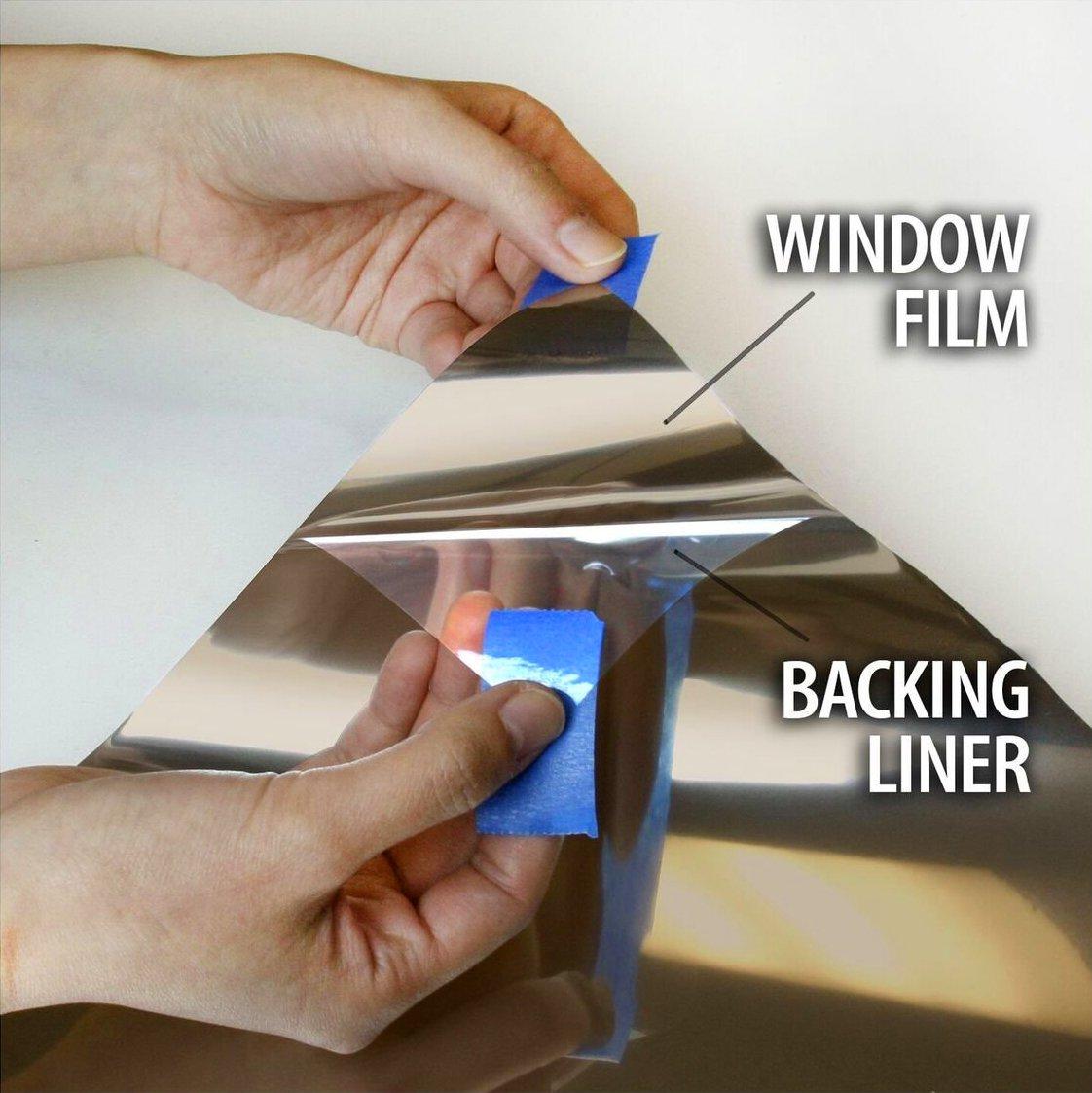 One-Way Bronze Mirror Finish Vinyl Window Wrap Self-Adhesive Film Roll (180'' x 60'')
