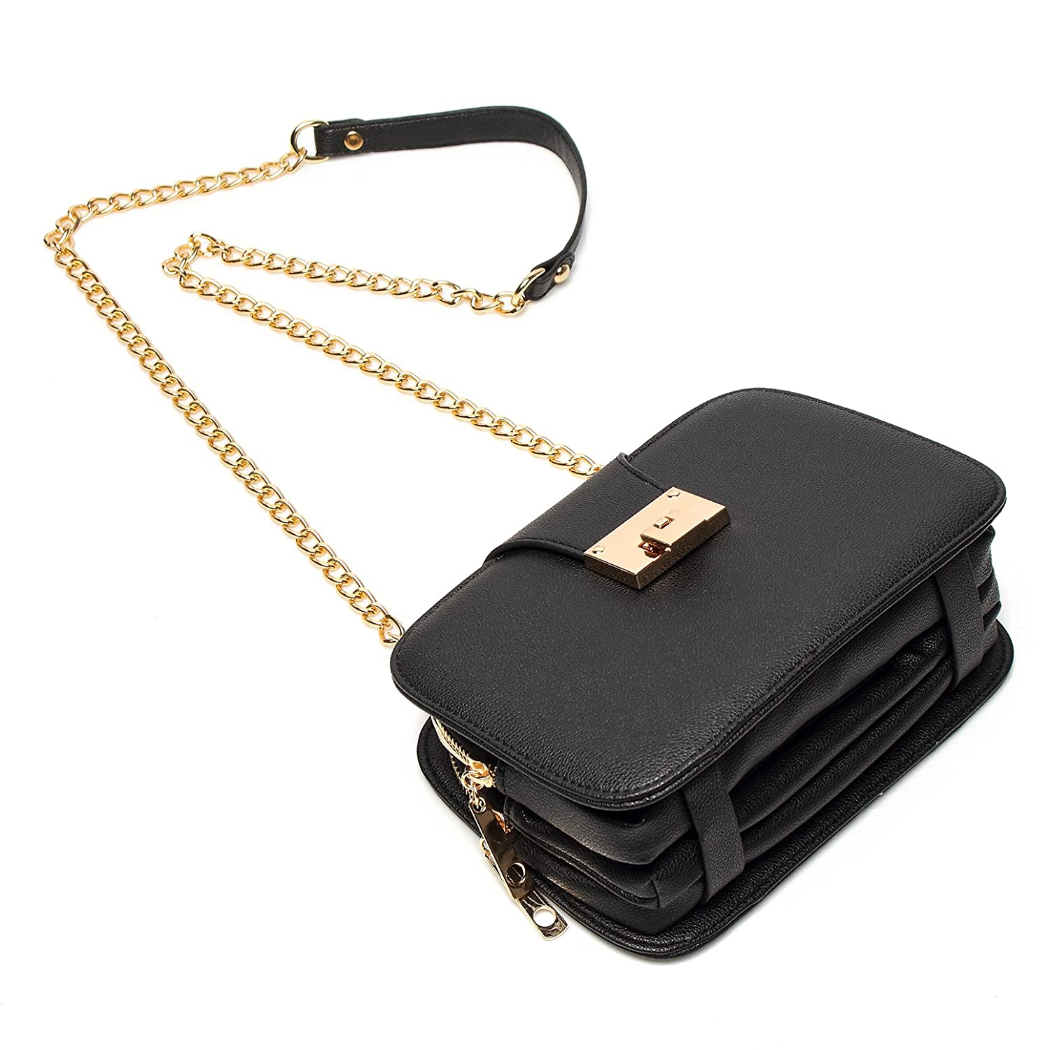 540bdf7aa7f2 Amazon.com  Forestfish Ladies  Black PU Leather Shoulder Bag Purse Evening  Clutch Bags Crossbody Bag with long Metal Chain Strap(Black)  Clothing