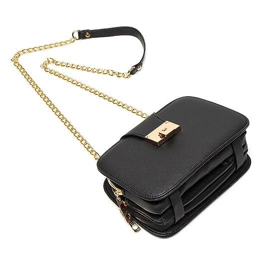 828ca0c058c Forestfish Ladies Black PU Leather Shoulder Bag Evening Clutch Purse  Crossbody Bag with Metal Chain Strap