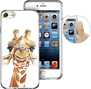 for iPod Touch 6th Case, LAACO Beautiful Clear TPU Case Rubber Silicone Skin Cover for Apple iTouch 6 - Cartoon Giraffe