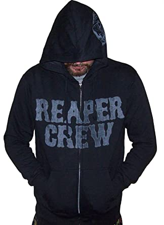 f254e0fe4ae Amazon.com  Sons of Anarchy Reaper Crew SOA Adult Zip up Hoodie Samcro  Black  Clothing