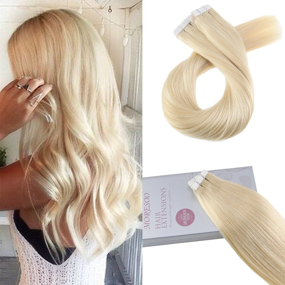 Moresoo 20 Inch Bleach Blonde Tape in Human Hair Color #613 Straight Unprocessed Remy Human Hair Seamless Skin Weft Adhesive Hair Extensions 50g/20pcs