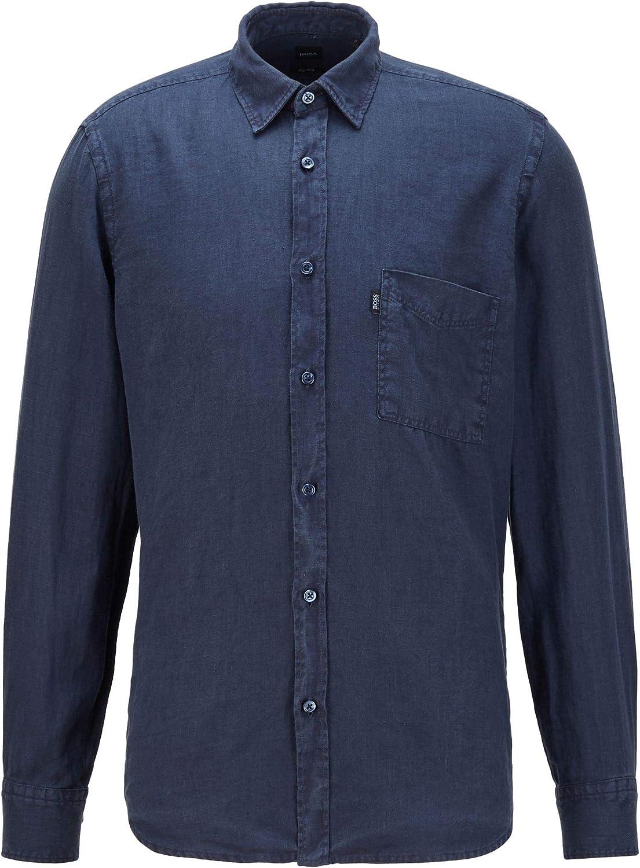 BOSS Relegant_2 Camisa, Dark Blue (404), M para Hombre ...