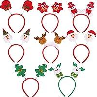 8 Pièces Bandeaux de Noël Serre-Tête de Père Noël Bandeaux de Cheveux