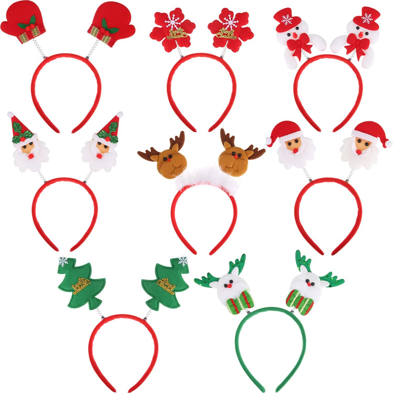 8 Piezas de Diadema de Navidad Diadema de Santa Bandas de Pelo ...
