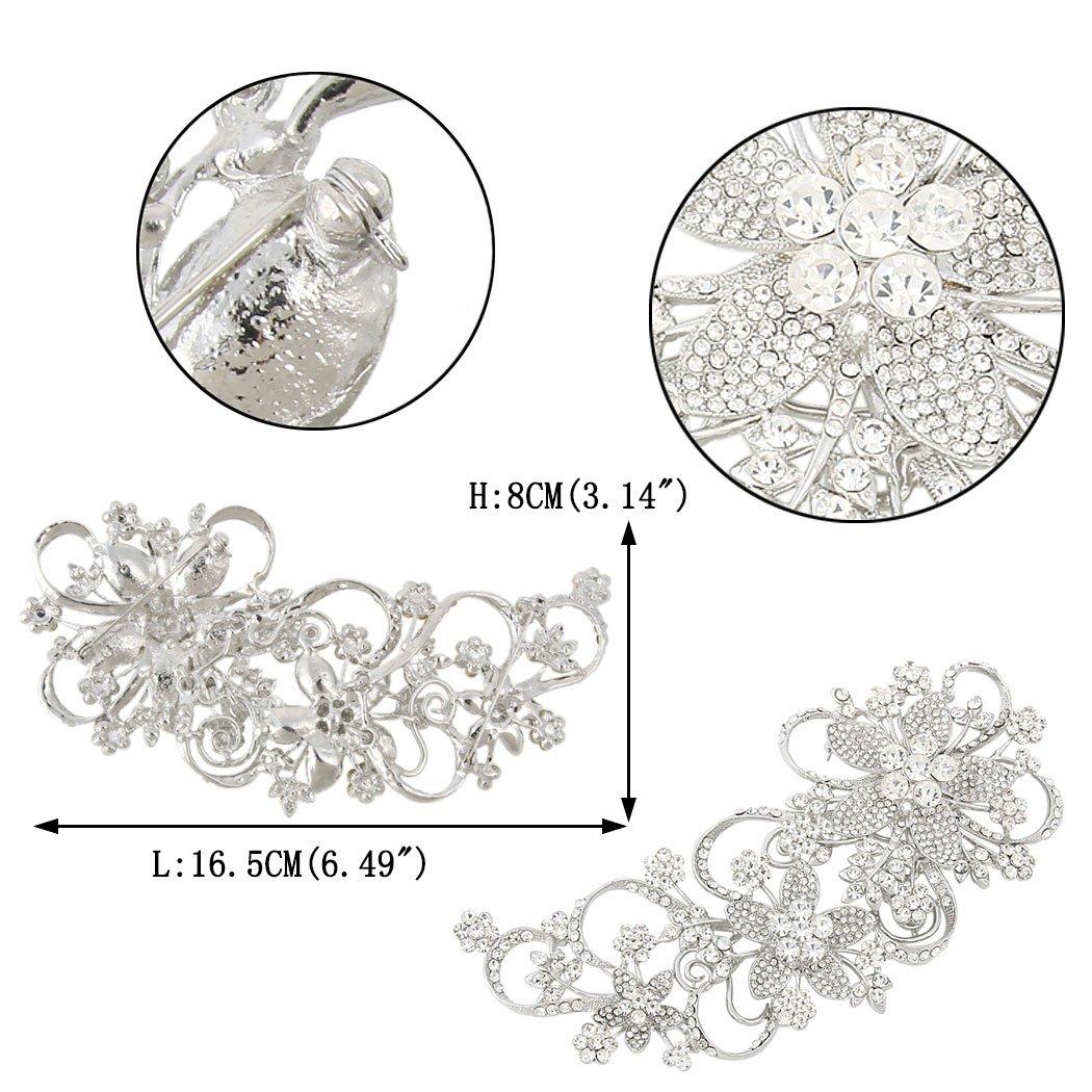 EVER FAITH Austrian Crystal 6.5 Inch Wedding Bridal Flower Vine Brooch Clear Silver-Tone