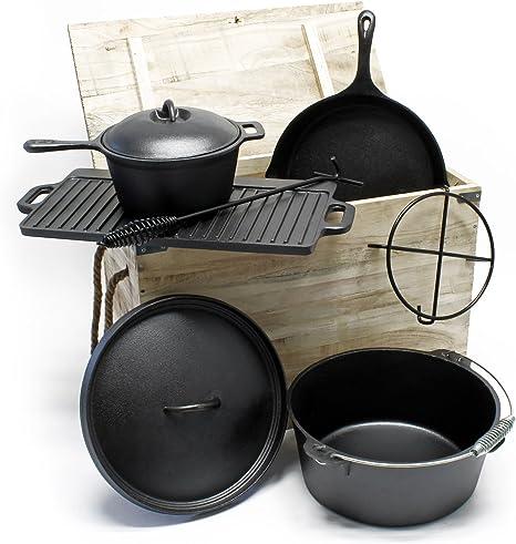 Horno holandés Set 6 piezas Ollas hierro fundido Accesorios camping Batería cocina exterior Outdoor