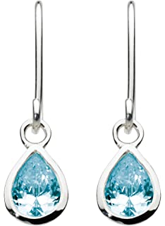 Dew Sterling Silver and Stone Teardrop Drop Earrings iN5fcEx