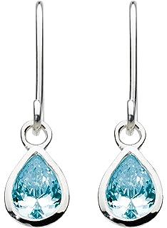 Dew Sterling Silver and Stone Teardrop Drop Earrings