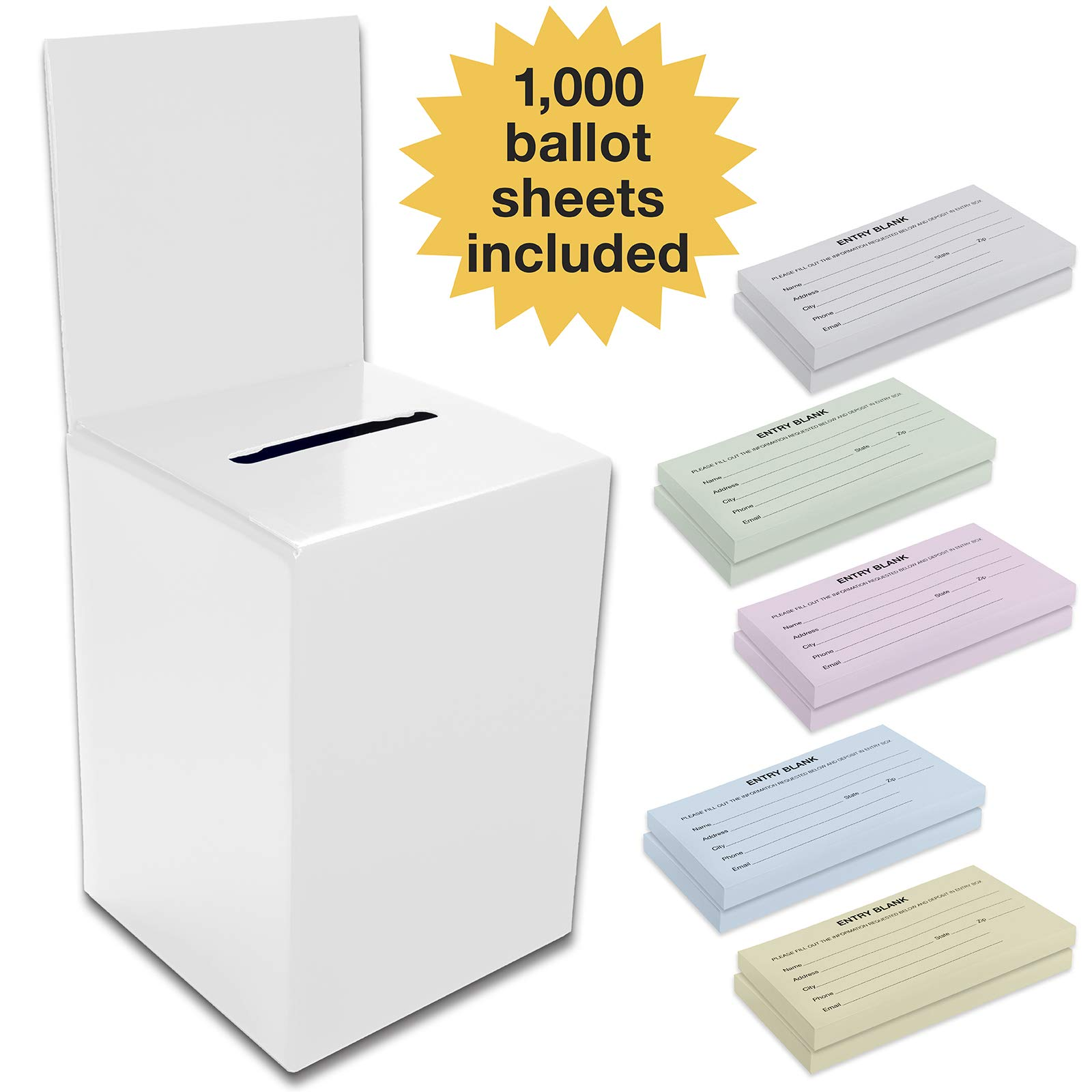 Large Ballot Box/Charity Box/Suggestion Box/Includes 1000 Entry Sheets/Use for raffles, Lead Generation, Collecting Business Cards, Voting, contests, suggestions (White) by Excello Global Products