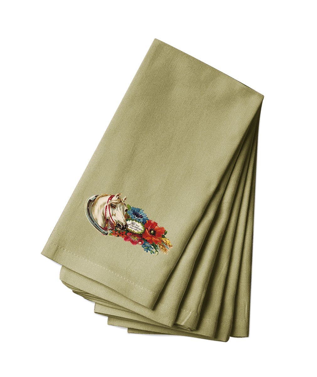 Style in Print Canvas Napkin Set Of 4 Horse In Flowers With A Picture Animals By