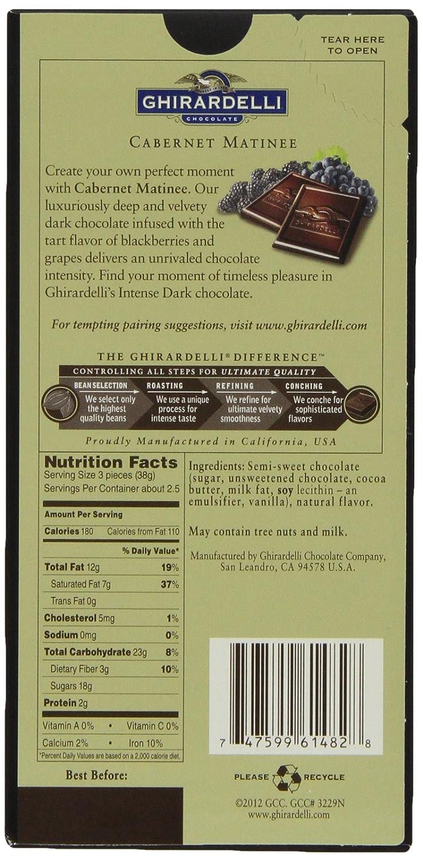 Amazon.com : Ghirardelli Intense Dark Cabernet Matinee Bar, 3.5 oz ...
