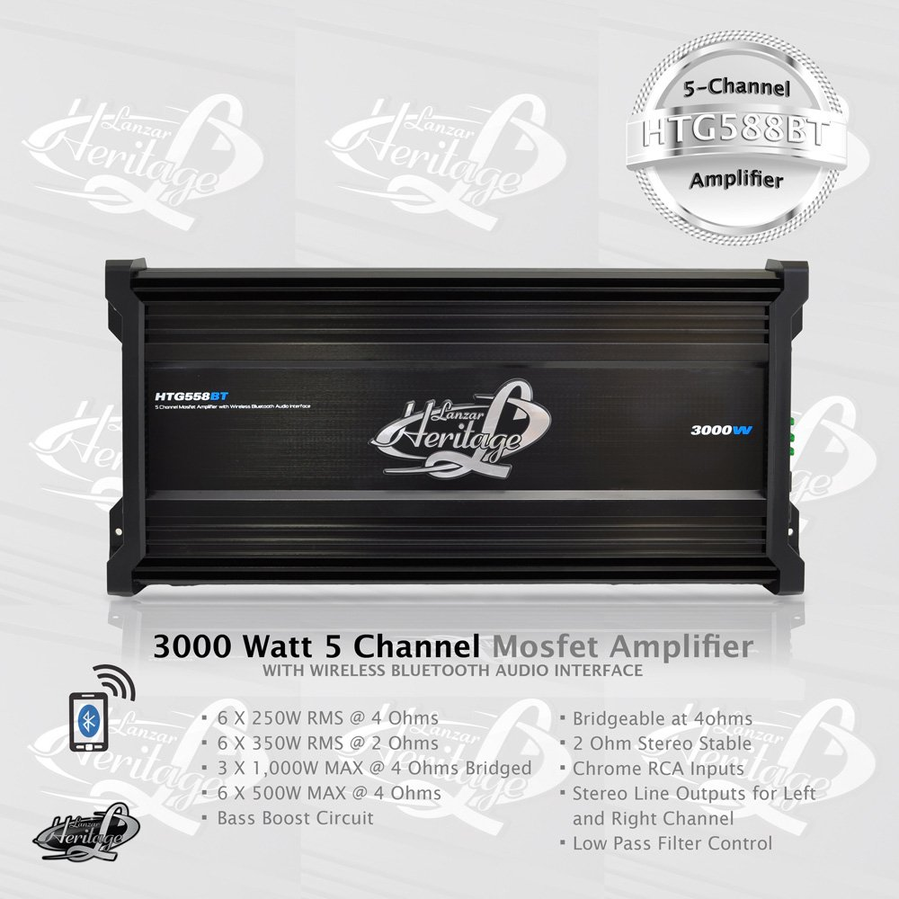 Lanzar Amplifier Car Audio 3000 Watt 5 Channel 2 Ohm How To Build A Speaker Crossover Network Circuit Bridgeable 4 Mosfet Rca Input Bass Boost Mobile For