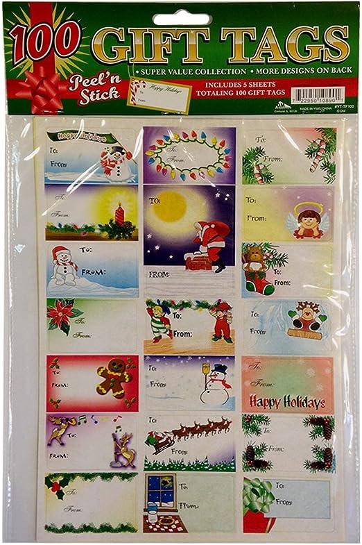 24 Christmas Design Glitter GIFT TAGS NEW Design A Self Stick
