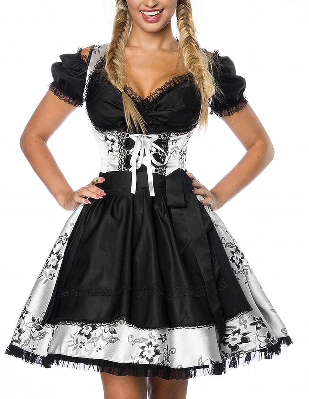 Dirndl Kleid Kostüm mit Schürze aus Brokat Stoff und Spitze Oktoberfest Dirndl silber/weiß/schwarz