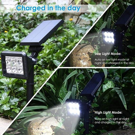 Foco Solar Exterior Luz Solar Jardín Pared Lámparas Ultra Brillante con Funciona de 8 Horas & 2 Modos de Iluminación, Lámparas Solares Ajustable Impermeable ...