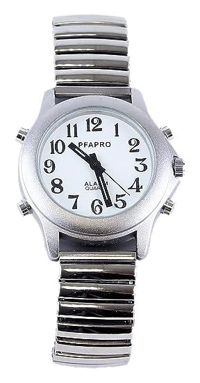 Reloj parlante con fecha y hora - Pulsera Metal extensible: Amazon.es: Relojes