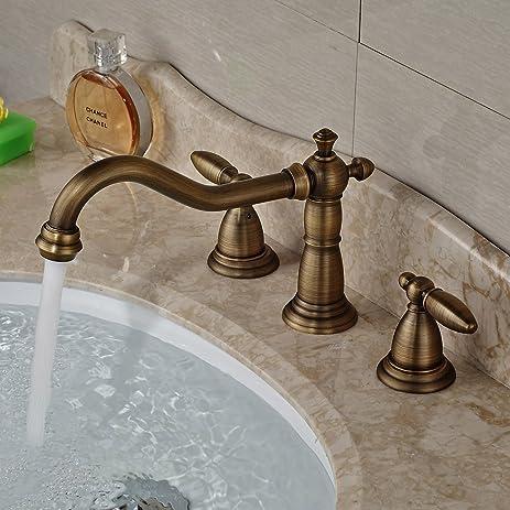 Rozin Antique Brass Bathroom Basin Faucet Widespread 3 Holes Sink ...
