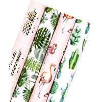 WRAPAHOLIC Wrapping Paper Roll - Flamingo/Cactus/Pineapple/Banana Leaf Design for Wedding, Birthday, Holiday, Baby…