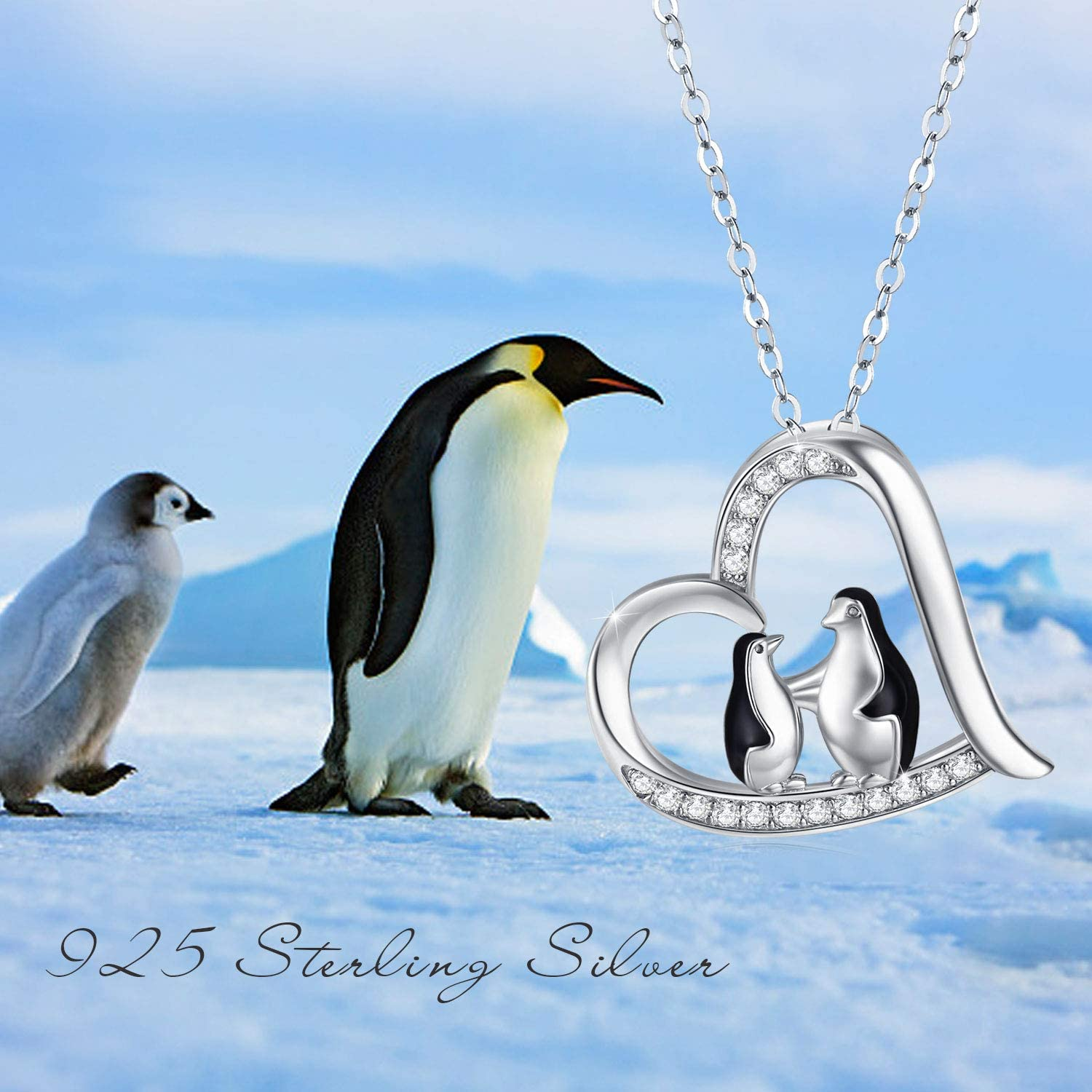 2 Silver Chain 18 Penguin Necklace 925 Sterling Silver Cute Animal Heart Pendant Necklace Mummy Gifts for Women