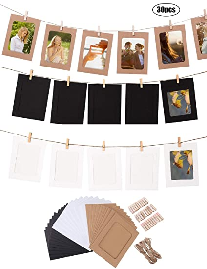 Amazon.com - Hanlianwen 30Pcs DIY Kraft Paper Photo Frames Cardboard ...