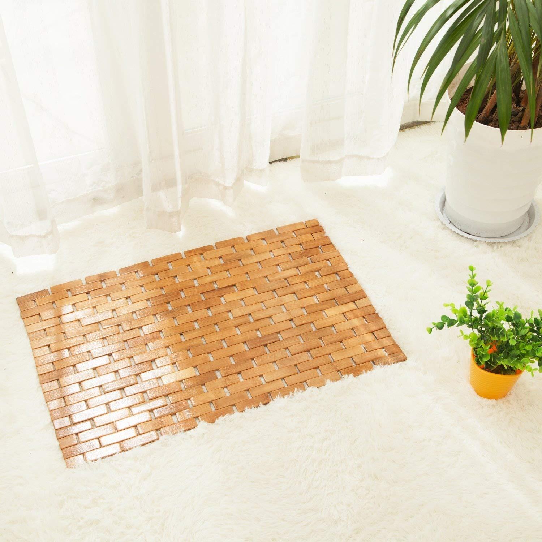 Luxury Multipurpose Bamboo Bath Mat For Shower Spa Sauna with Non Slip Feet | Indoor Outdoor Use for Kitchen Bedroom Bathroom Toilet Doormat Pet Mat | 60 x 40 cm (23.6 x 16) HANKEY FBA_C02