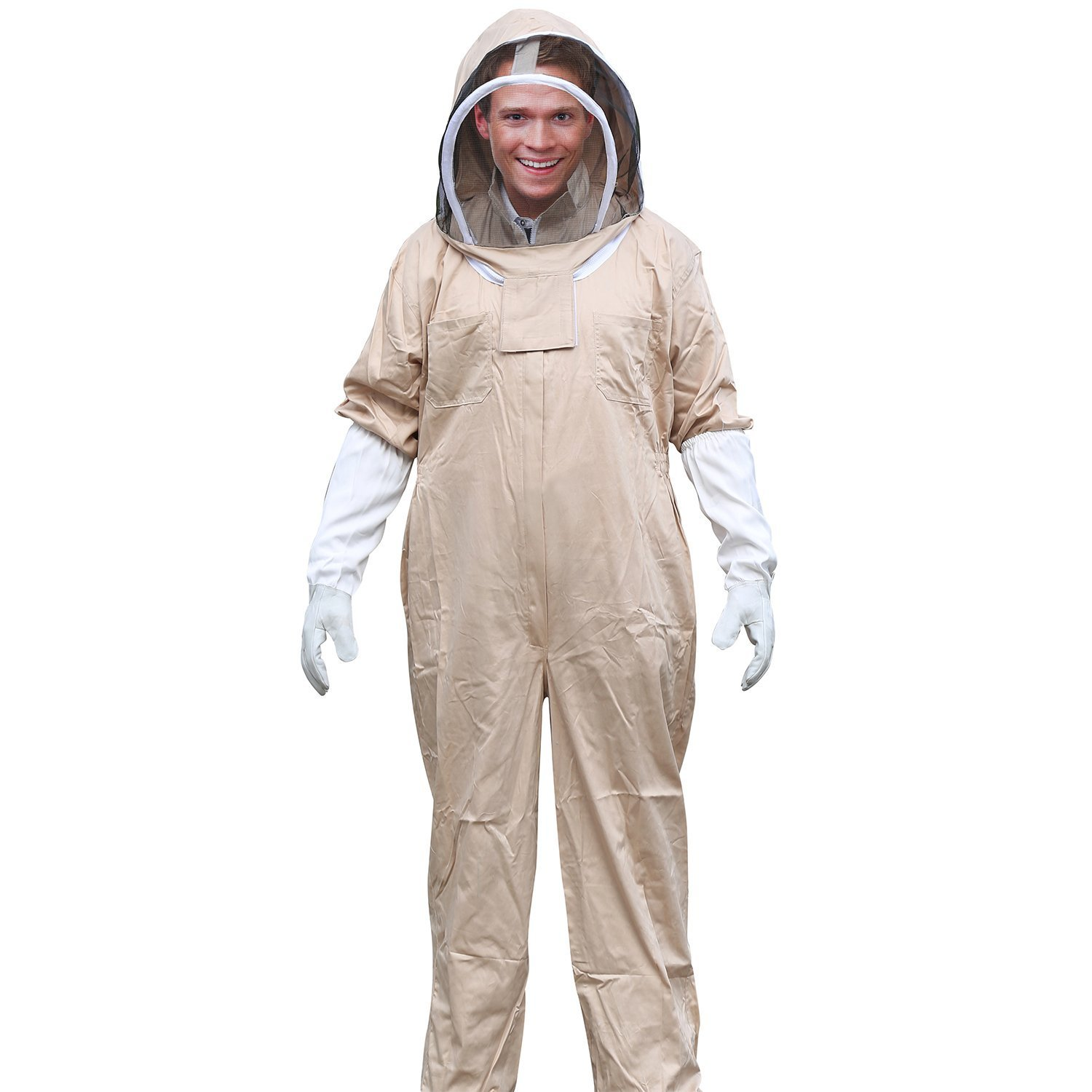 Aspectek New Professional Medium Cotton Full Body Beekeeping Bee Keeping Suit, with Veil Hood TRTD1263