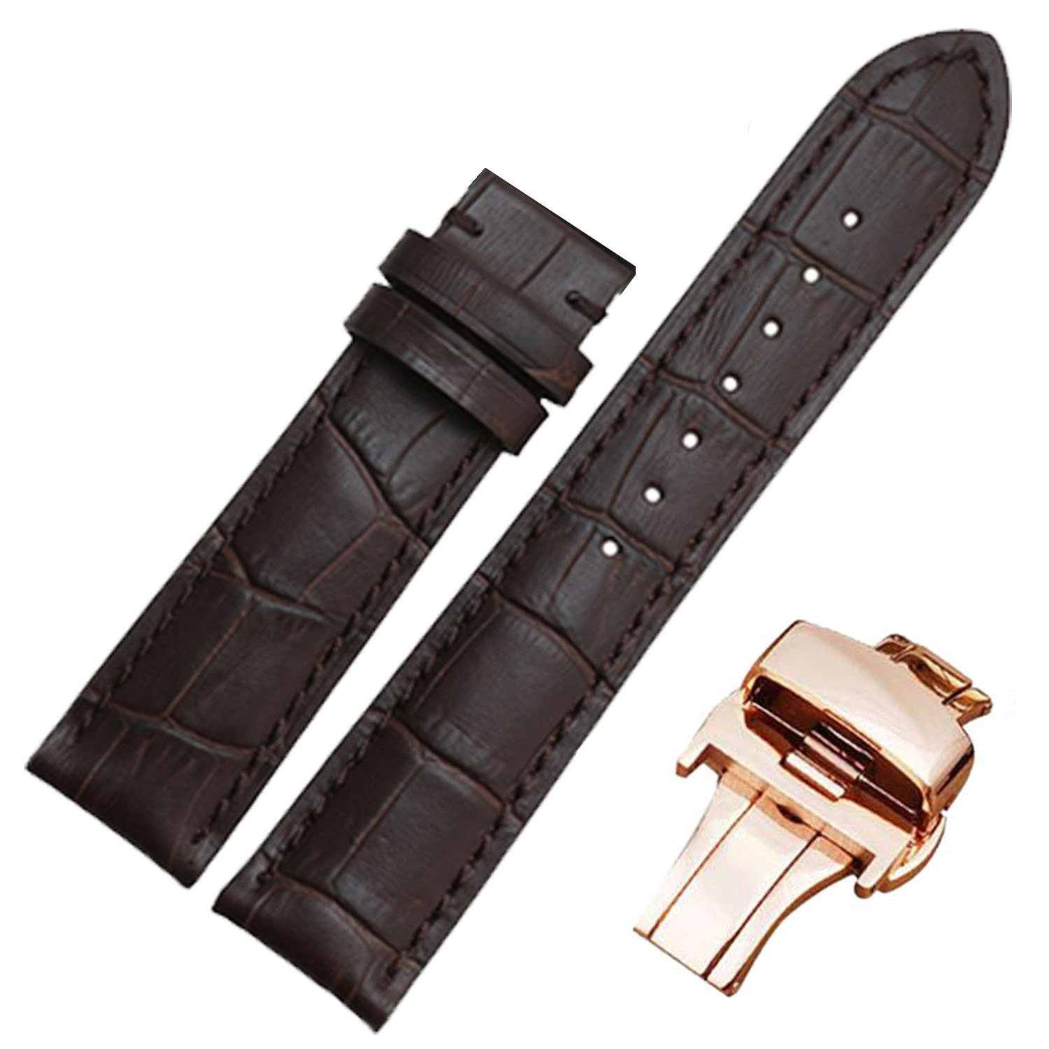 19mm 20mm Luxury Italian Brown Leather Watch Band Strap Deployment Clasp (19mm, Rose gold plate)