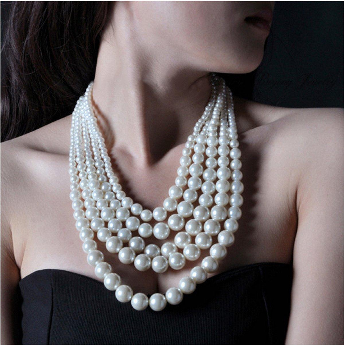 Multilayer 5-Strand Creamy White Pearl Fashion Choker Necklace
