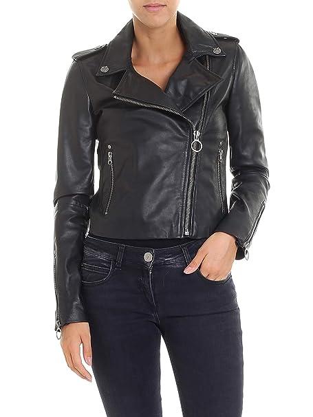 3dfc44d56cc43 Pinko Giacca Outerwear Donna 1G13lmy4qez99 Pelle Nero  Amazon.it   Abbigliamento