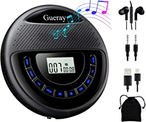 Gueray CD Player Portable Rechargeable with Speaker Dual Stereo 1400mAh CD Walkman CD Discman Backlight Battery Personal CD Player with Headphones Memory Function Anti-Skip Protection LCD Display …