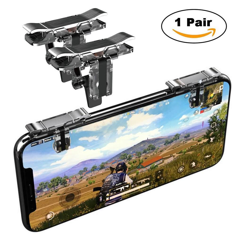Mobile Game Controller, YOUNI Cell Phone Game Triggers - Sensitive Shoot and Aim Buttons Shooter Handgrip for PUBG - 1Pair(L1R1) (Silver) (Silver-1st Gen)