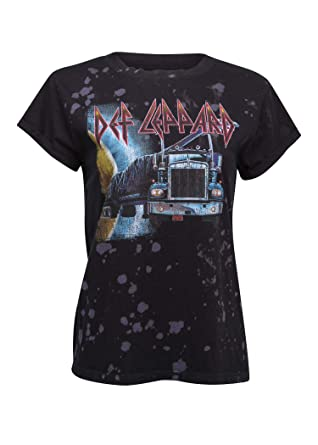 d66f6c952 Recycled Karma Womens Def Leppard Distressed Vintage Look T-Shirt Band Tee  Size X-