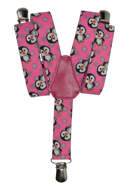 Childrens 1-5 Years Elasticated Clip on Braces/Suspenders with Penguin Design 2.5cm - Blue KIDSBRACESJpenguin-blue