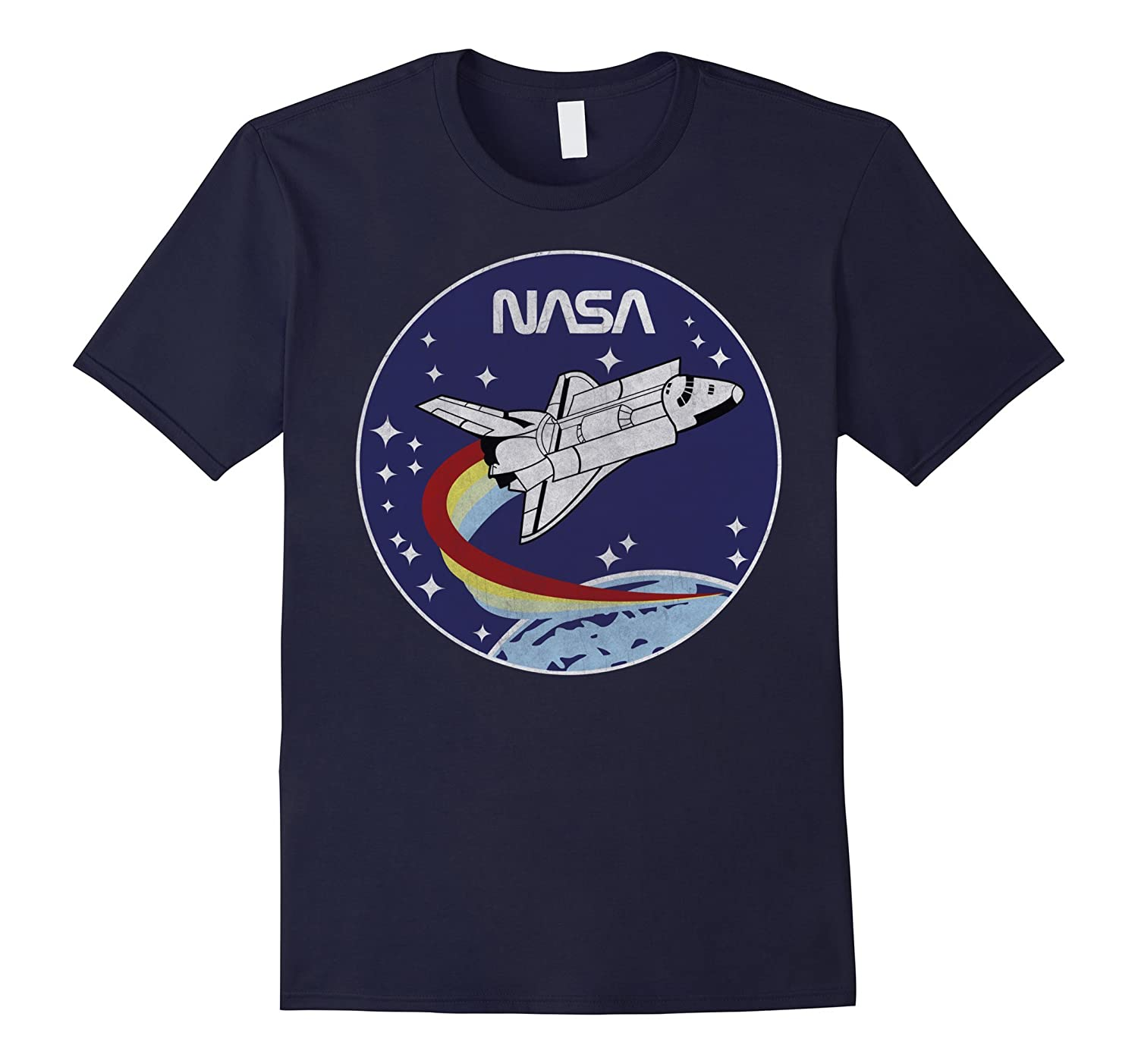 NASA Shuttle Launch Orbit Circle Patch Graphic T-Shirt-BN
