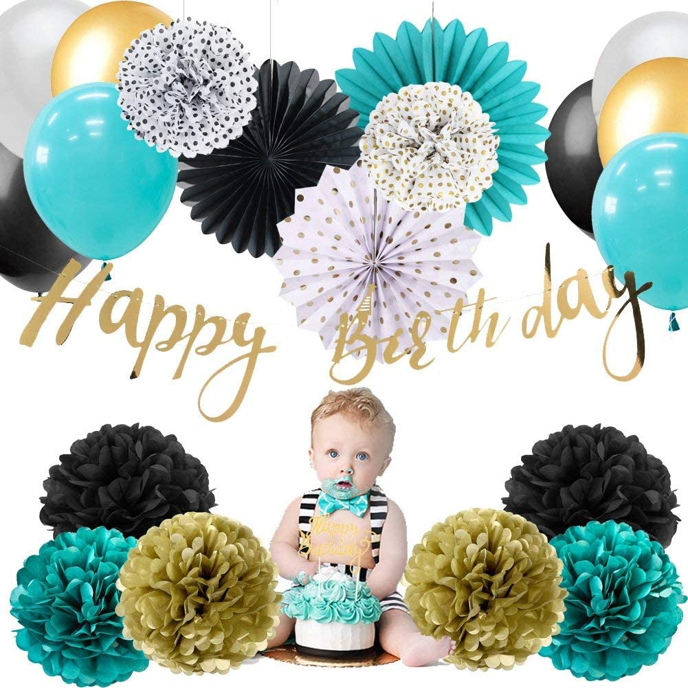 Baby Boy 1st Birthday Decoration Kit Happy Birthday Banner Paper Pom Poms Flowers Rosette Fans Latex Balloons Decoration Yong Party