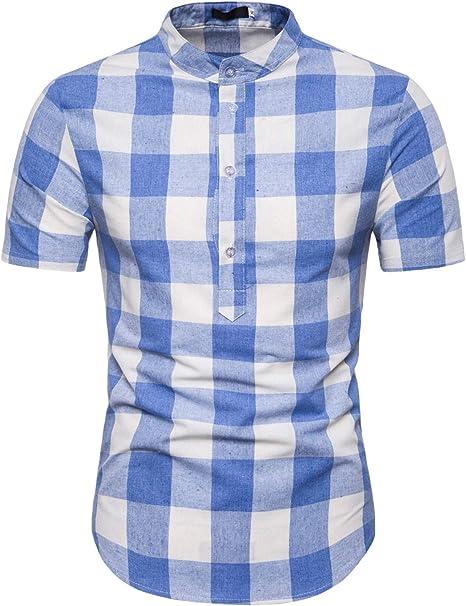 Camisa de Manga Corta con Estampado a Cuadros de para Hombre ...