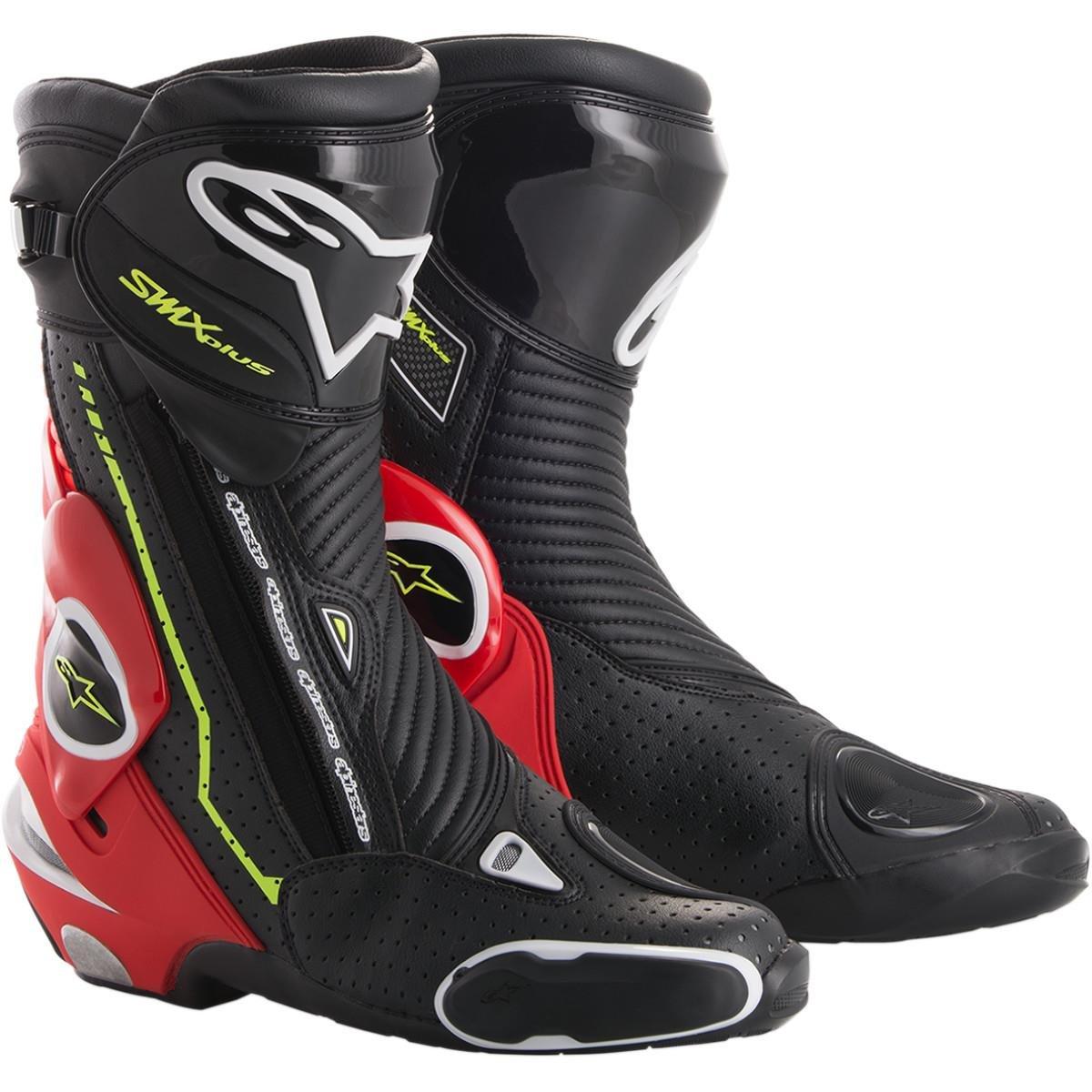 アルパインスターズS - MX PlusメンズStreet Motorcycle Boots – ブラック/ホワイト/レッド/イエロー 36 3404-1348 B075FH5GF2 36  36