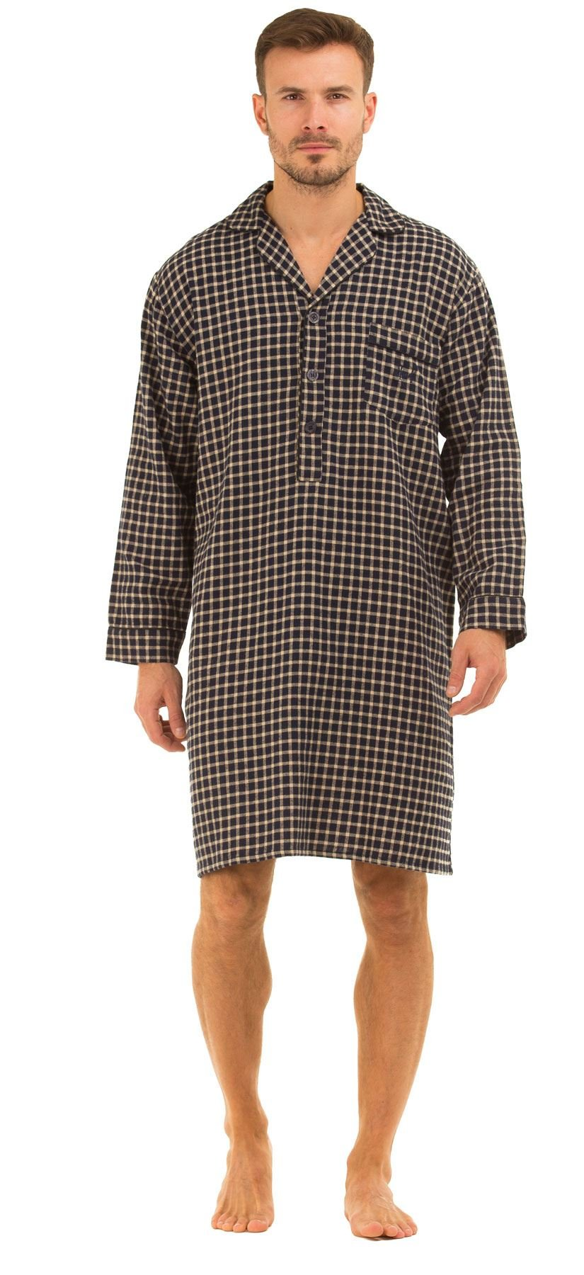 Haigman Men's Brushed 100% Cotton Nightshirt Large (41-43) Navy/Beige Check
