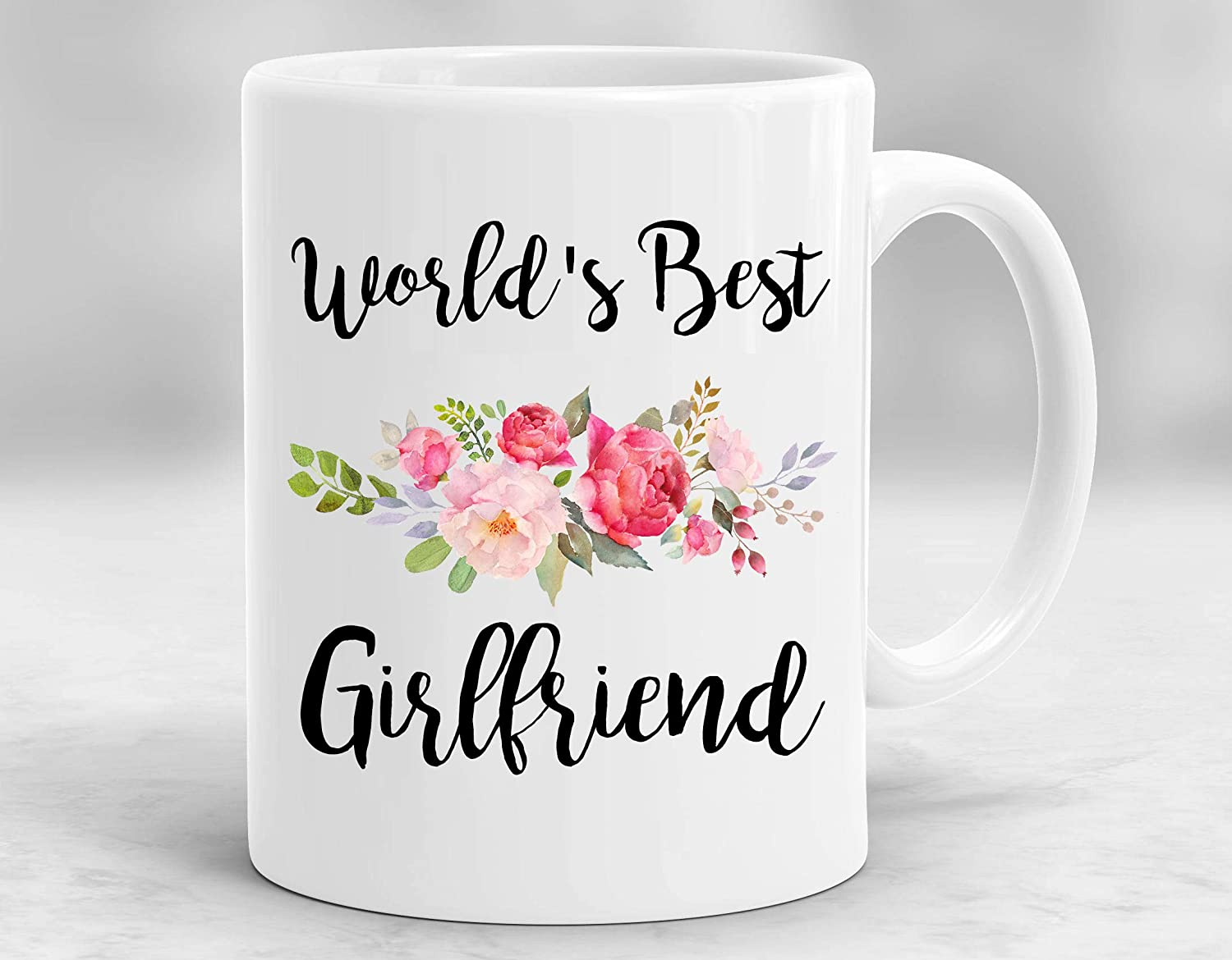 Interestprint World S Best Girlfriend 11 Oz Ceramic Coffee Mugs Tea Cup Funny Sarcasm Motivational Birthday Christmas Valentine S Day Gifts For Wife Girlfriend Bff Friends Women Kitchen Dining